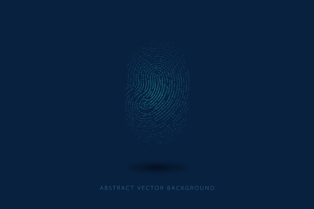 abstracted: Particle, dot composition fingerprint, security, confidentiality, science and technology abstract background