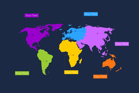 divergence: The map of the world on six continents with color distinguish Illustration