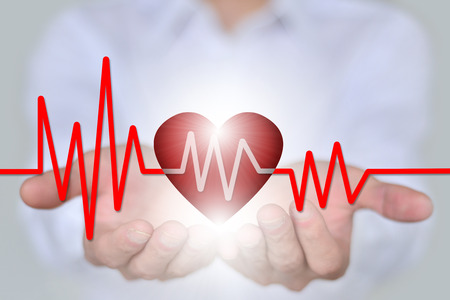 diagnosing: Medical insurance, medical and health, the concept of charity, holding the 3D hearts and ECG features Stock Photo