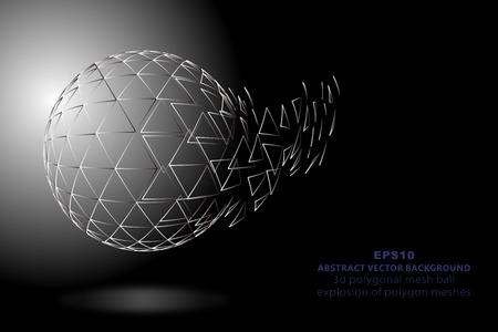 3D polygon mesh sphere, exploding mesh Illustration