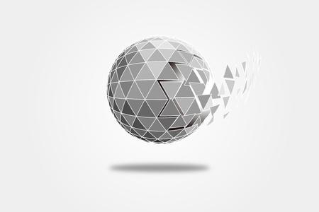 polyhedron: 3D polygonal crystal ball, explosive triangular fragment