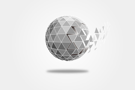 3D polygonal crystal ball, explosive triangular fragment