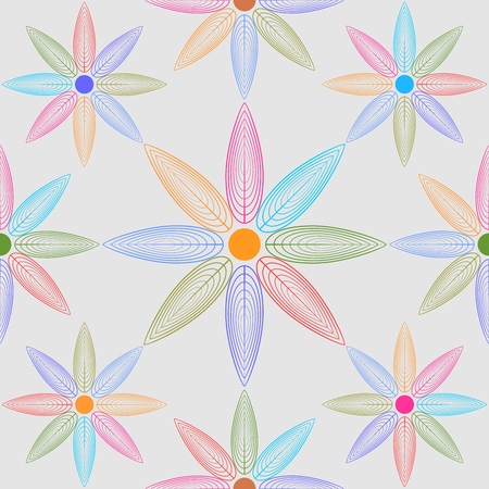 Line composed of petals seamless mosaic pattern