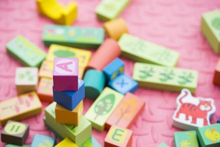Stacked building blocks Stock Photo
