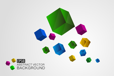 The three dimensional color cube floats on a white background Illustration