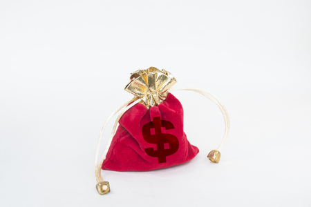 The red purse is marked with a dollar sign