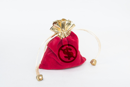 The red purse is marked with the dollar symbol and the prohibition symbol. It forbids and refuses the concept of corruption, corruption, bribery and bribery