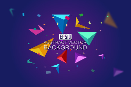 abstracted: Colorful suspended triangular tetrahedral and colorful debris are composed of colorful  backgrounds Illustration
