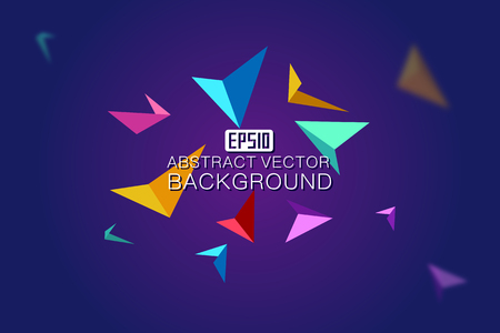 divergence: Colorful suspended triangular tetrahedral and colorful debris are composed of colorful  backgrounds Illustration