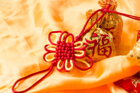The new year knot with blessing bag Stock Photo
