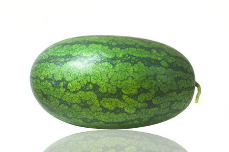 The watermelon is isolated in the white background