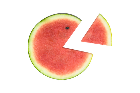 The sliced watermelon is isolated in the white background 版權商用圖片