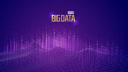 Point line big data concept abstract 3D digital terrain vector illustration. Vecteurs