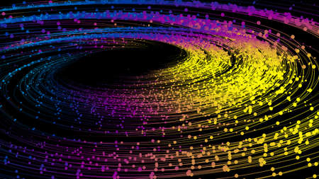 Dotted line glowing particle vortex, big data, communication technology technology.