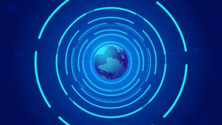 3D rendered digital globe, dotted line links, internet background.