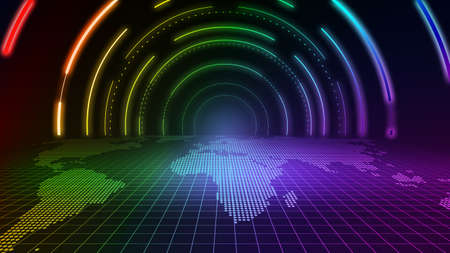 The color tunnel channel space constructed by luminous neon light lines. 版權商用圖片