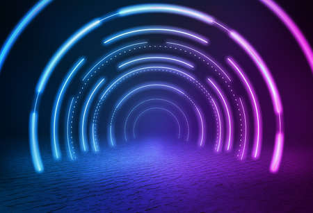 On the lake, there is a passage space constructed by luminous neon light lines.