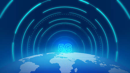 The dots, lines and planes form a 5G channel leading to the earth, providing a sense of space technology. 版權商用圖片
