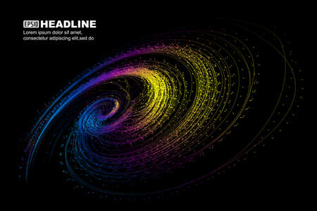 Colorful spiral particles and lines, communication technology technology background.