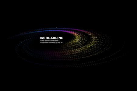 Colorful dot line particle vortex, internet technology big data background.