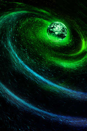 Cosmic starry sky swirl earth, science and technology internet background.