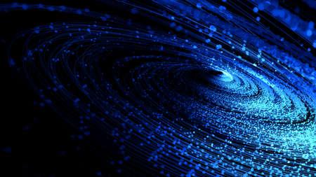 Blue glowing particle spiral line, internet communication technology big data background. 版權商用圖片