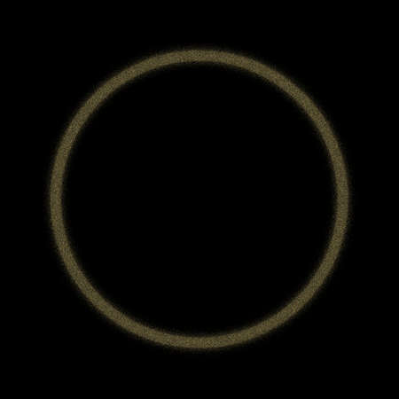 Golden noise ring on black background.