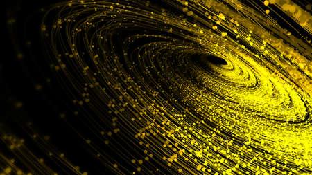 Golden glowing particle spiral, fintech communication big data.