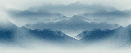 Chinese ink wash style sunset mountain scenery background