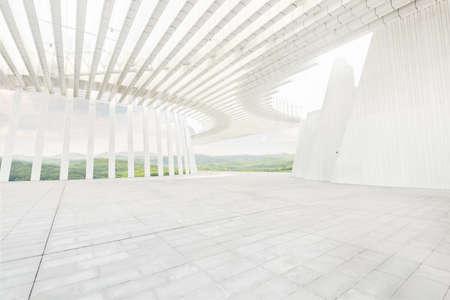 Clean and bright interior architectural space, artistic modern architecture.