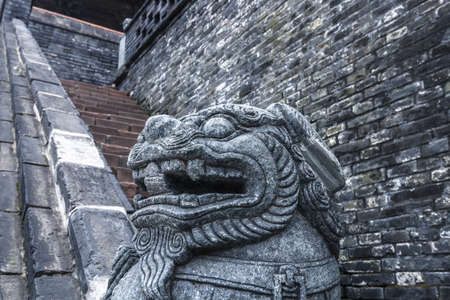 Close-up of stone lions in the Imperial Palace in Shenyang, Liaoning. 版權商用圖片