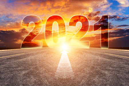 Empty asphalt roads and the New Year 2021 concept. The 2021number on the straight highway.