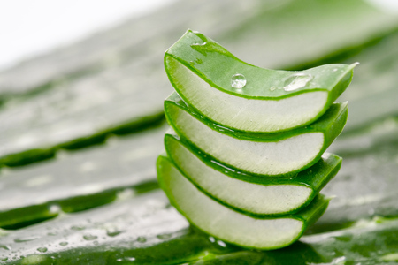 Macro of composition of aloe vera. Concept of beauty cream derived from Aloe, natural medicine and care for the body, two to its therapeutic properties, facelift, rejuvenation and Nature