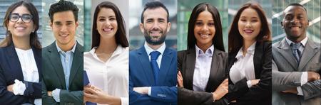 negocios de todas las etnias. concepto de negocio financiero, de seguros y de marketing. globalización y biodiversidad Foto de archivo