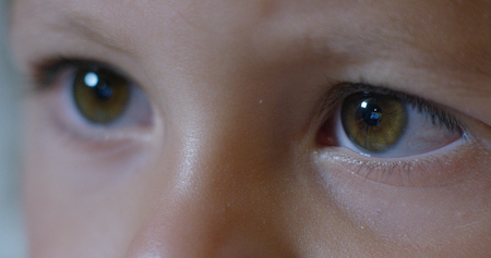 Macro of child's eyes while using a tablet, smartphone. the future of web technology and video technology concept. connections and vision of the future of children with the web. Internet protection.