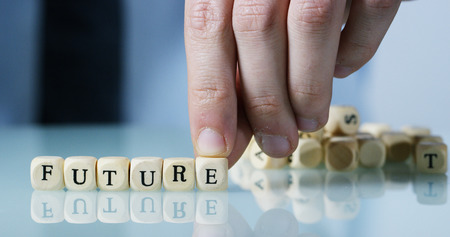 words and future made by letters. financial business concept and future of stock exchange or market success 免版税图像