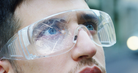 Augmented reality in holography. Concept: immersive technology, future, eyes, and futuristic vision. Banco de Imagens