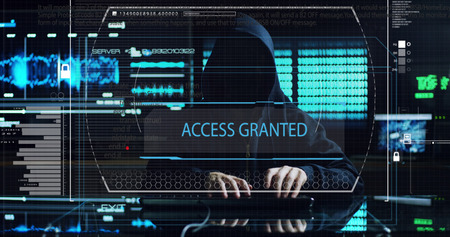 Hacker tries to enter the system using codes and numbers to find the security password.The hacker enters the software to steal login information.Concept: immersive technology, augmented reality