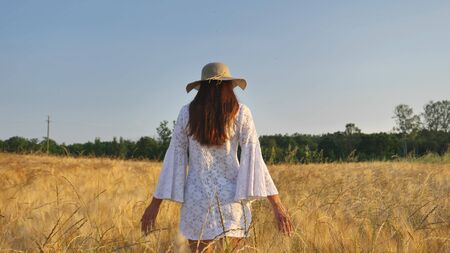 On a sunny day, a woman is walking along a wheat field