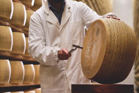 Un casaro controlla la stagionatura del parmigiano. La lavorazione avviene seguendo l'antica tradizione italiana.