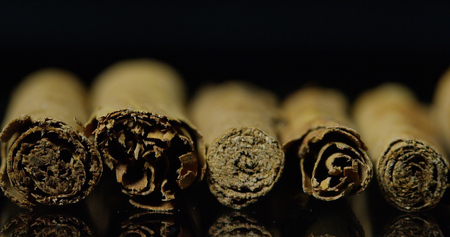Cinnamon dried on a flat black background. concept of distant lands and spices for organic food and beverages.