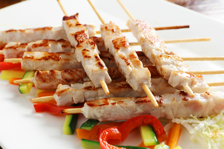 Close-up of a plate of oven-cooked skewers. Concept of: Italian cuisine, gourmet.