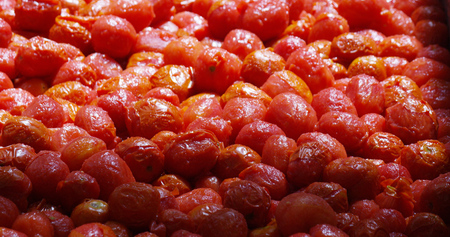 The tomatoes are transported to the oil, then they are sent to the production cycle.