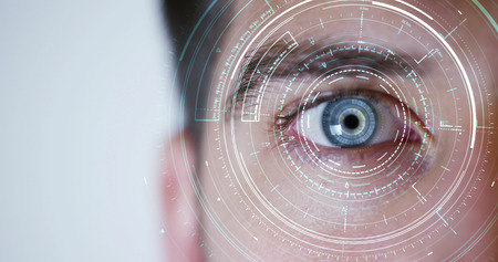 human being futuristic vision, vision and control and protection of persons, control and security in the accesses.Concept of: dna system, scientific technology and science. Stockfoto