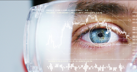 biometric of a scientist with futuristic graphics and holography with financial graphic. Concept: immersive technology, augmented reality, science and research, worldwide medical assistance