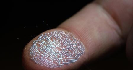 futuristic digital processing of biometric fingerprint scanner. concept of surveillance and security scanning of digital programs and fingerprint biometrics. cyber futuristic applications.