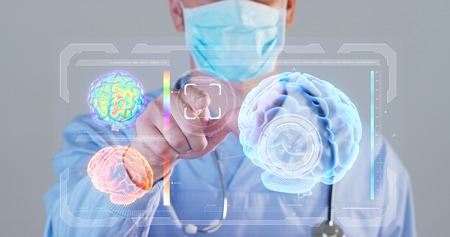 A futuristic doctor, a surgeon, a brain hologram, a medical mask, a blue robe. Concept futuristic medicine, doctors, laboratory, future, science