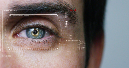 human being futuristic vision, vision and control and protection of persons, control and security in the accesses.Concept of: dna system, scientific technology and science. Stock Photo