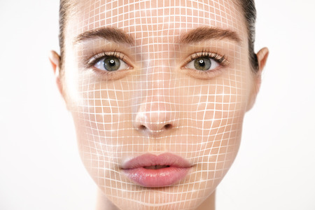 Futuristic and technological face scanning for a beautiful woman. It can serve to ensure personal safety. Concept of: future, security, scanning 免版税图像 - 114887808