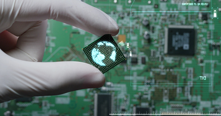 Macro shot of a chip, futuristic and modern advanced technology system. The computer is used in the computer processors and the hi-tech communication and business security and information and assistance